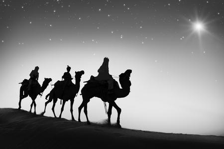 3 つの賢明な男性ラクダ旅行砂漠ベツレヘム コンセプト