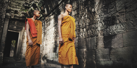 Contemplating Monk in Cambodia Culture Concept