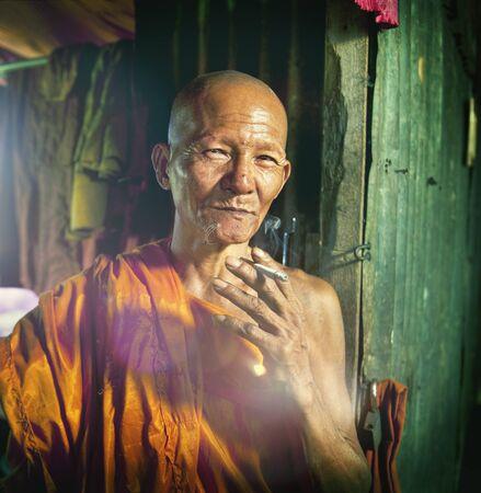 potrait: Monk Monastry Potrait Traditonal Culture Characters Concept Stock Photo