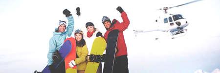 cocnept: Snowboarders Mountain Skiing Winter Season Cocnept Stock Photo