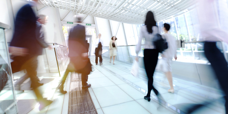 rushing hour: Hong Kong Business People Commuting Concept Stock Photo