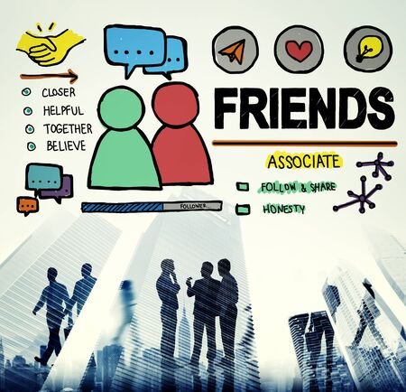 round collar: Friends Group People Social Media Loyalty Concept