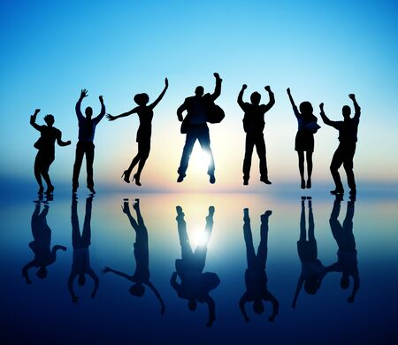 happy business team: Group of Business People Celebration Success Concept