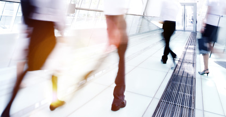 rushing hour: Business Rush Hour Commuter Office Walking Concept Stock Photo