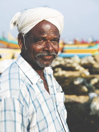 indian subcontinent ethnicity: Indian Fisherman Kerela India Tranquil Concept Stock Photo