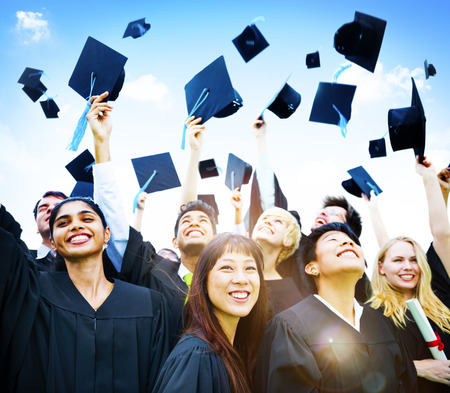 high life: Graduation Students Success Education Happiness Concept Stock Photo