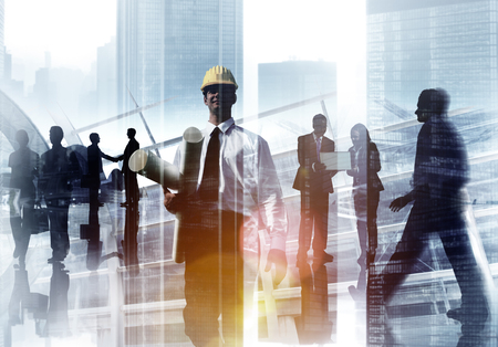 architect office: Engineer Architect Professional Occupation Corporate CIty Work Concept Stock Photo