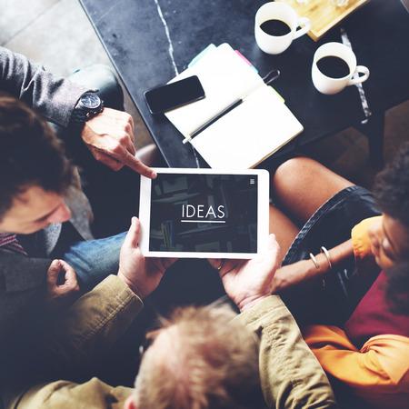 Coffee Break ideas creativas página web Concepto de las personas Foto de archivo - 49155383