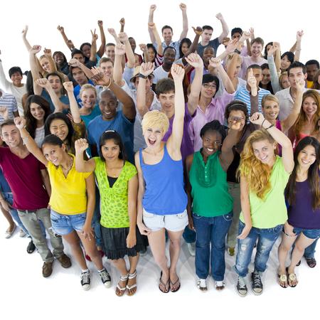estudiantes: Grupo de Estudiantes Uni�n Concepto Comunidad Foto de archivo