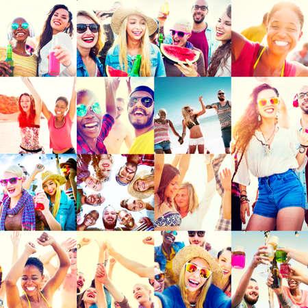 smile faces: Collage Diverse Faces Summer Beach People Concept