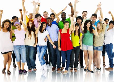 personas celebrando: Gran grupo de personas Celebrando Concepto comunidad