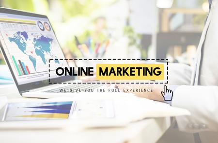 marketing concept: Online Marketing Advertisement Strategy Target Promotion Concept