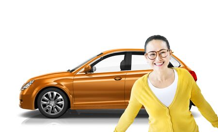 propulsion: Car Vehicle Hatchback Transportation 3D Illustration Concept