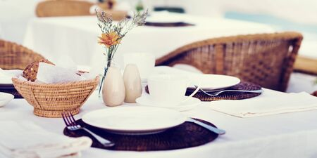 up service: Restaurant Dining Table Set up Service Concept Stock Photo