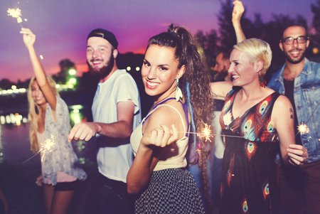 noche: Diverse étnico Partido Amistad Ocio Felicidad