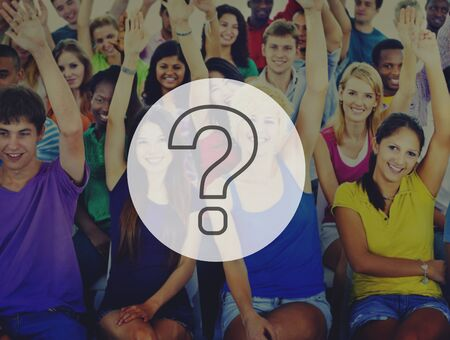 questions: Group People Crowd Cooperation Question Mark Concept