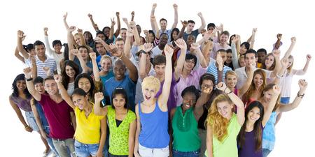 estudiantes de secundaria: Grupo de Estudiantes Unión Concepto Comunidad Foto de archivo