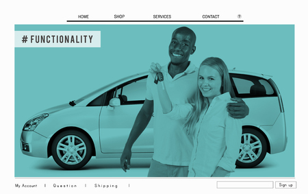 functionality: Multi Utility Vehicle Car Functionality Homepage Concept Stock Photo