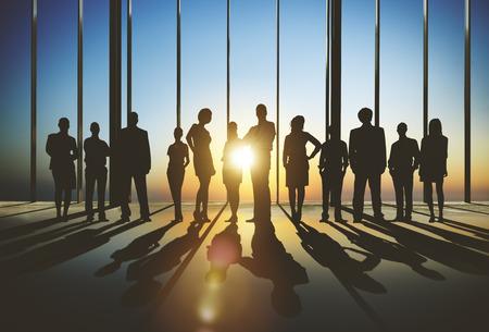 Confident silhouet van het bedrijfsleven Mensen Team Concept Stockfoto