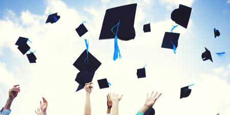 Graduation Caps Thrown Happiness Success Cocnept Foto de archivo