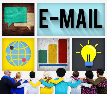 facing backwards: E-mail Connecting Internet Global Communication Concept