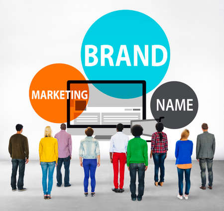 facing backwards: Brand Branding Advertising Marketing Commerce Concept Stock Photo