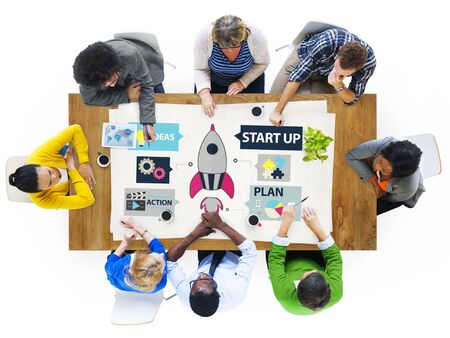 business innovation: Startup Innovation Planning Ideas Team Success Concept Stock Photo