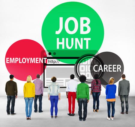 facing backwards: Job Hunt Employment Career Recruitment Hiring Concept