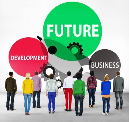 facing backwards: Future Development Goal Aspiration Futuristic Concept Stock Photo