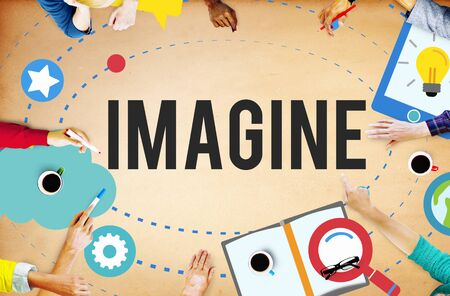 to innovate: Imagine Imagination Ideas Innovate Thinking Concept Stock Photo
