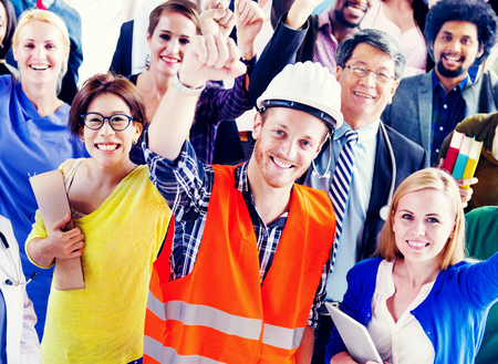 various occupations: People with Various Occupations Arms Raised Stock Photo