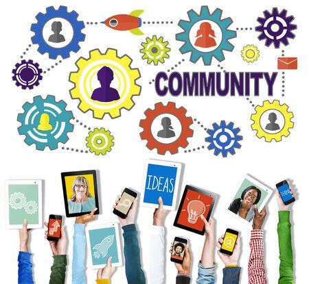 digital device: Community Connection Society Social Media Social Network Concept