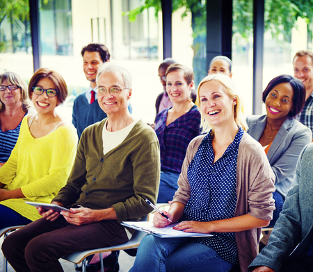 workshop seminar: Multiethnic Group Seminar Training Boardroom Concept Stock Photo