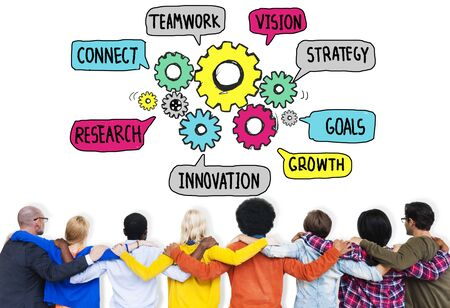 teamwork concept: Teamwork Connect Strategy Vision Together Gear Concept Stock Photo