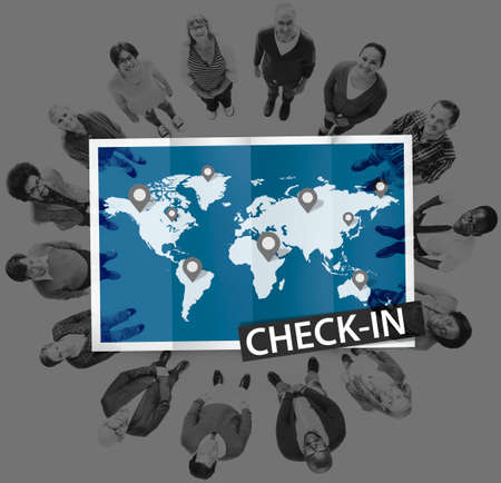 check in: Check In Cartography Location Spot Travel World Global Concept