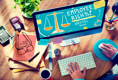job search: Employee Rights Working Benefits Skill Career Compensation Concept Stock Photo
