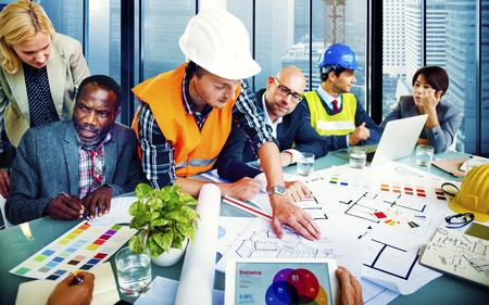 arquitecto: Ingeniero Arquitecto de planificación concepto de Office Project emplazamiento de la obra Foto de archivo