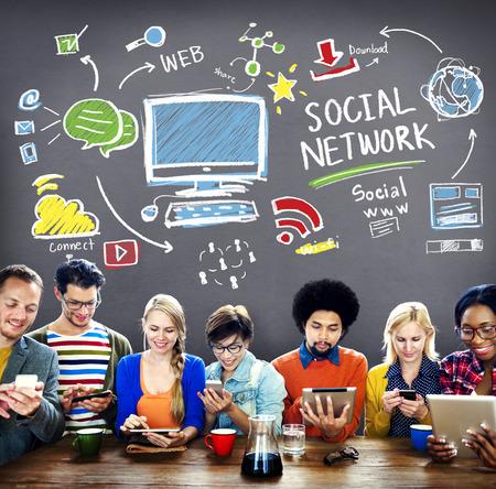 réseautage: Réseau Social Media Social Internet WWW Web Concept en ligne