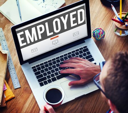 employed: Employed Recruitment Human Resources Hiring Concept Stock Photo