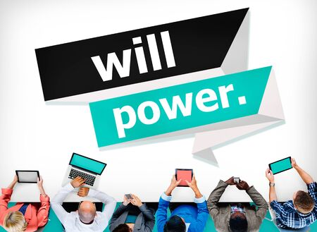 endurance: Will Power Control Endurance Strength Commitment Focus Concept