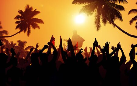 performer: Summer Music Festival Beach Party Performer Excitement Concept