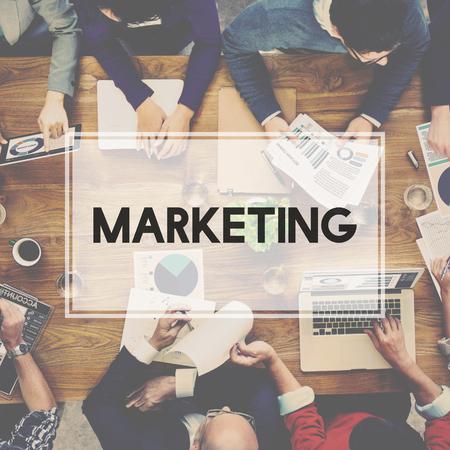 planificacion: Estrategia de Planificaci�n de Marketing Comercial Publicidad Concept Foto de archivo