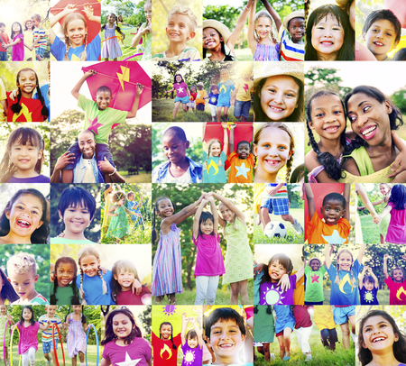 playful: Children Family Enjoyment Playful Summer Casual Concept Stock Photo