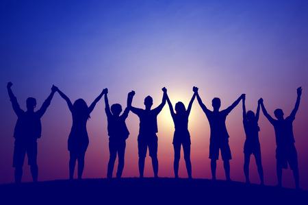 Teamwork Team Support Friend Friendship Cheerful Concept Standard-Bild