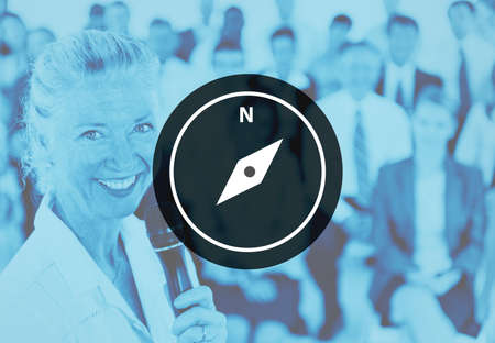 discover: Compass Navigation Discover Guide Travel Concept Stock Photo