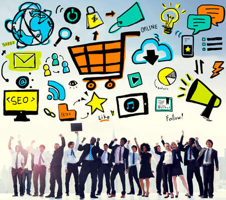 commerce: Online Marketing Strategy Branding Commerce Advertising Concept Stock Photo