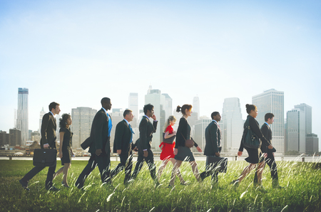 rushing hour: Business People Walking Rushing Hurry Commuter Concept Stock Photo