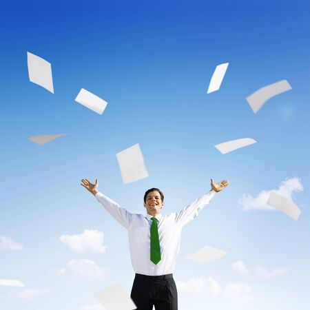 green office: Business Businessman Documents Throwing Happiness Concept Stock Photo