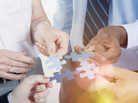 comunidad: Conexión Negocio Equipo Corporativo Jigsaw Puzzle Concept