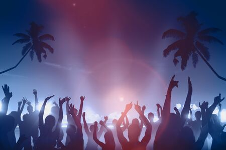 Silhouettes of People Dancing Beach Party Concept